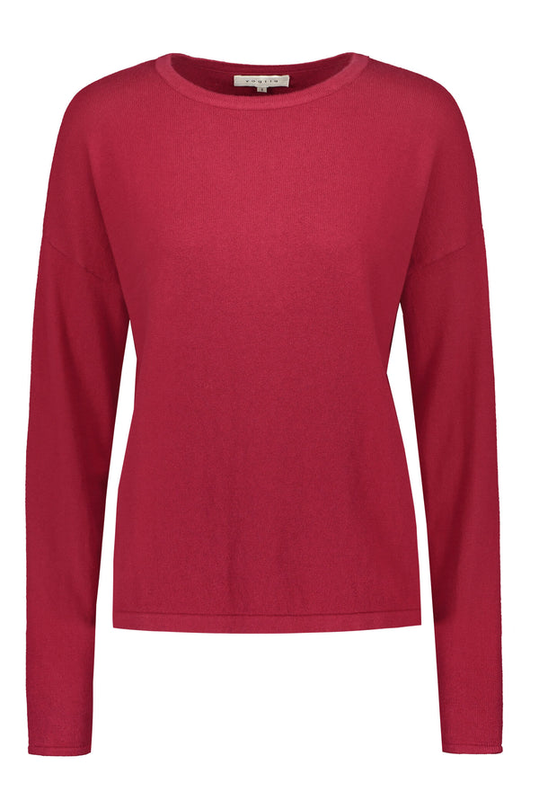 Voglia Clear Cotton Cashmere Jumper rosewood red front