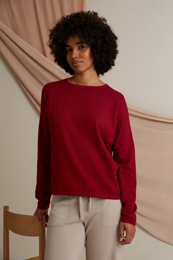 Voglia Clear Cotton Cashmere Jumper rosewood red