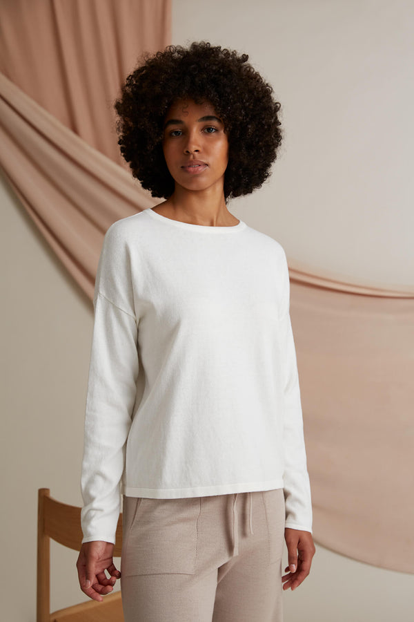 Voglia Clear Cotton Cashmere Jumper soft white
