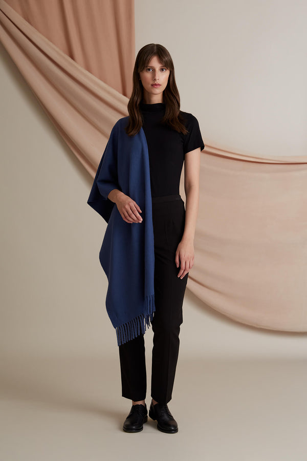Voglia Connie wool cashmere scarf blue