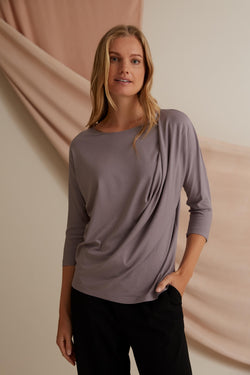 Voglia Finland Amelie Batwing Sleeve Top Brown