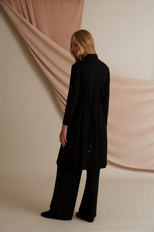 Voglia Finland Amy Long Jersey Cardigan in black back