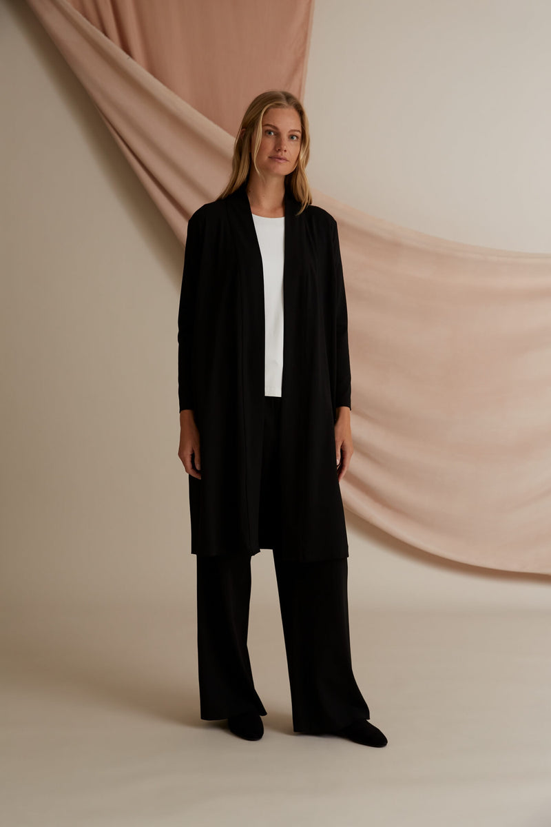 Voglia Finland Amy Long Jersey Cardigan in black