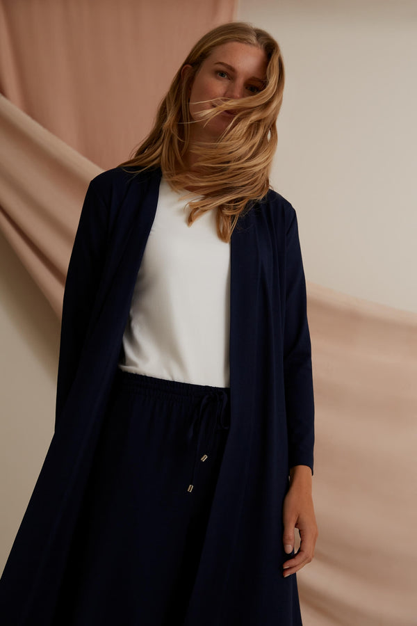 Voglia Finland Amy Long Jersey Cardigan in dark blue