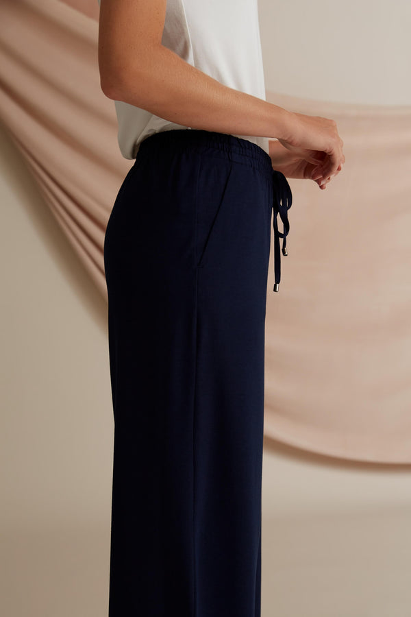 Voglia Finland Annabella Wide Jersey Pants in Dark Blue back