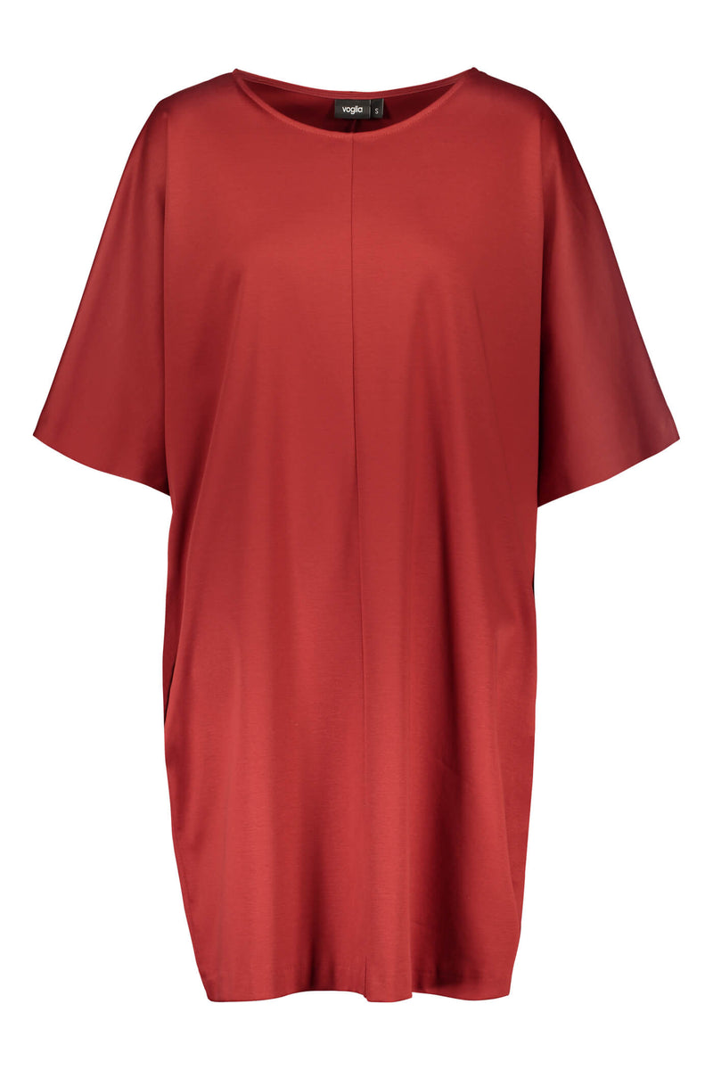 Voglia Finland Aurora loose fit dress rosewood red front