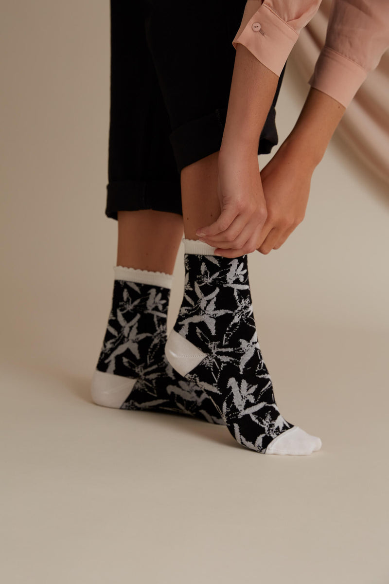 Voglia Finland Everly jacquard socks black