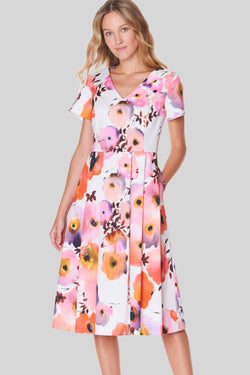 Voglia Finland flowery cotton dress sleeves