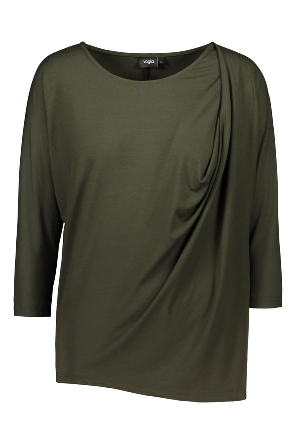Voglia Finland green batwing top front