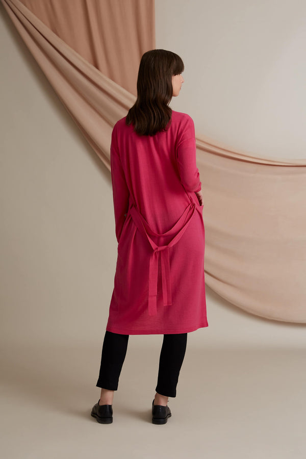 Voglia Finland Long Merino Wool Cardigan pink back