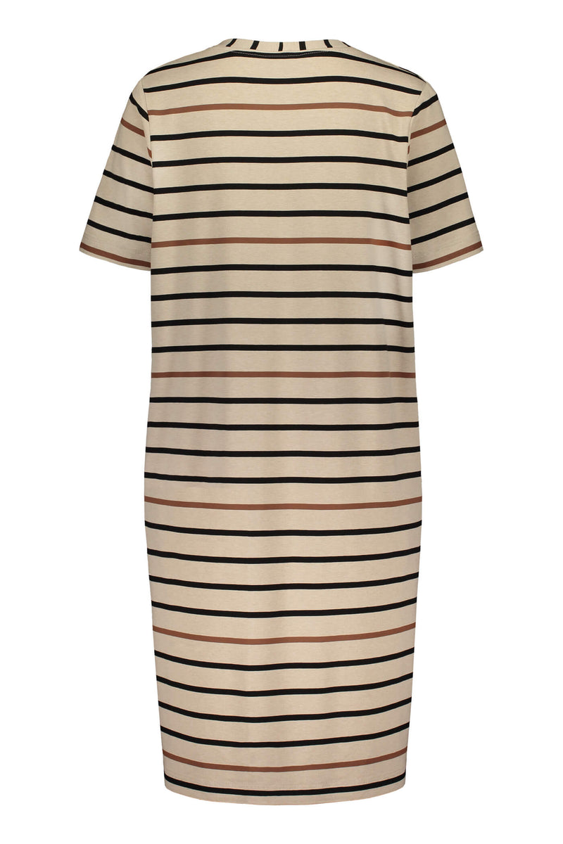 Voglia Finland striped Adriana dress in sand back