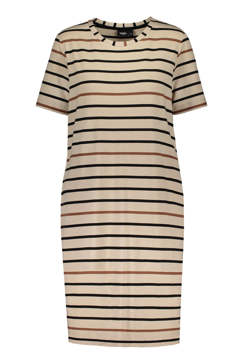 Voglia Finland striped Adriana dress in sand front