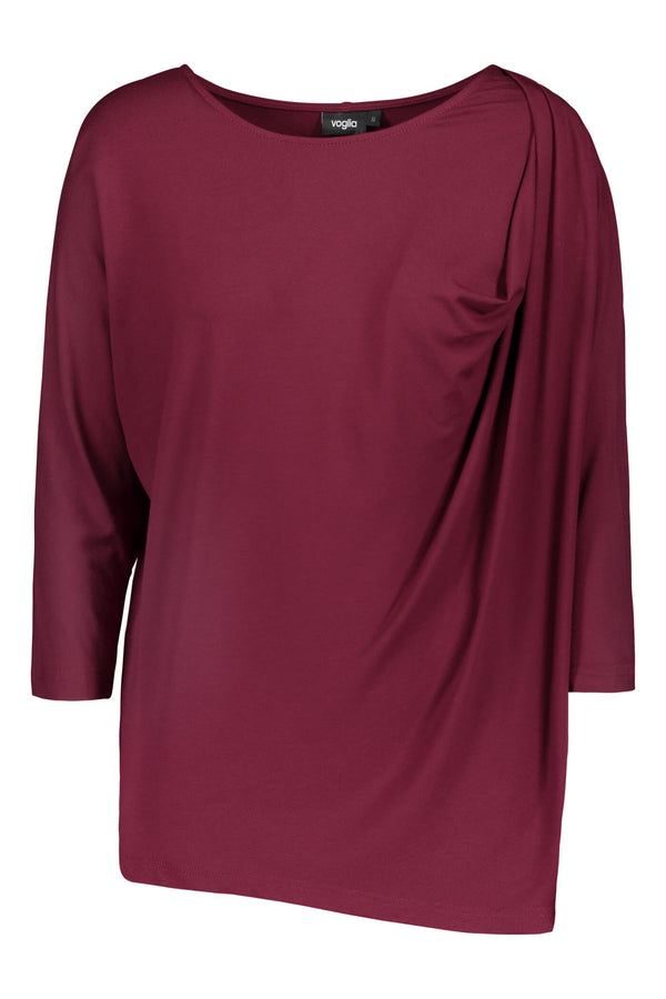 Voglia Finland wine red batwing top front