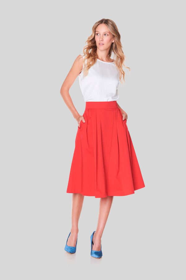 Voglia Finland women's red cotton skirt with pockets