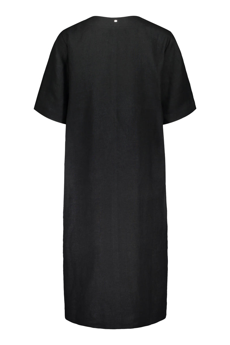 Voglia Finland women's black linen dress back