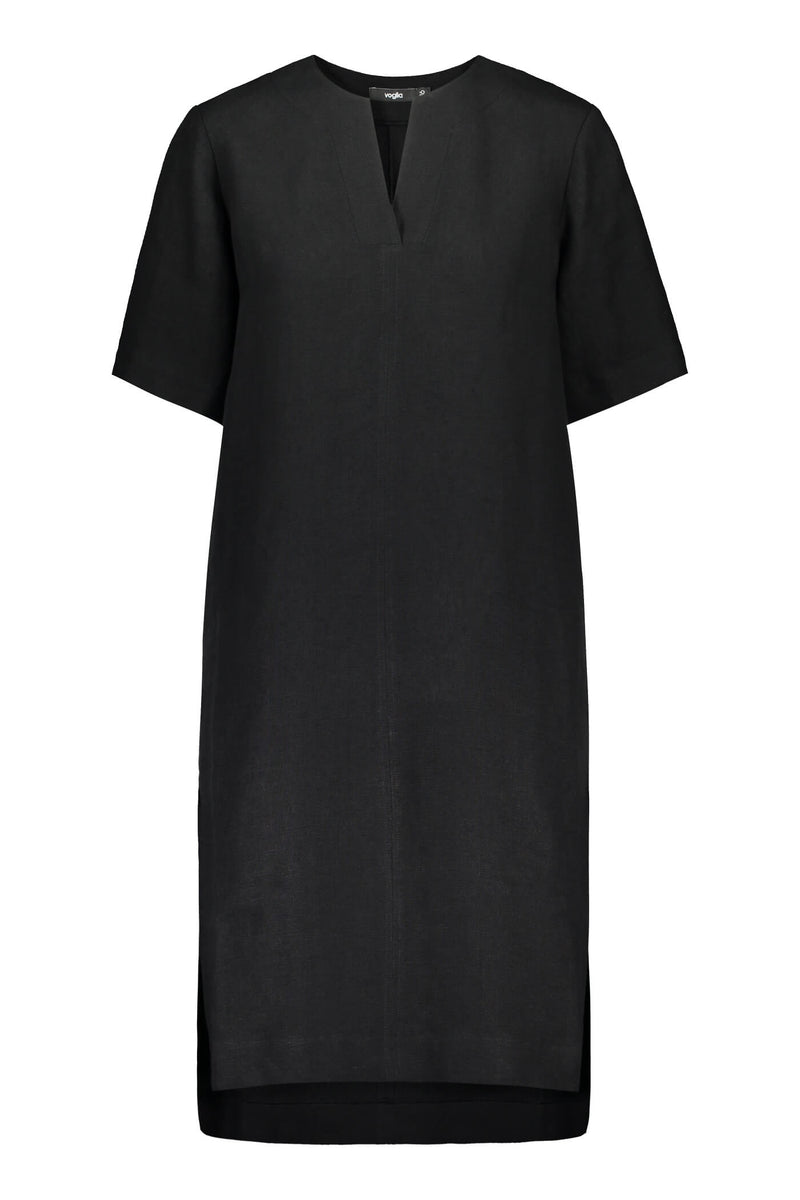 Voglia Finland women's black linen summer dress front