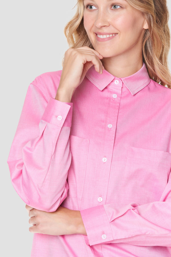 Voglia Finland women's pink cotton shirt with pocket