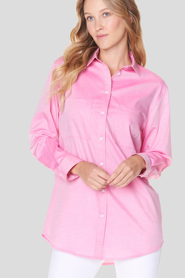 Voglia Finland women's pink cotton collar shirt