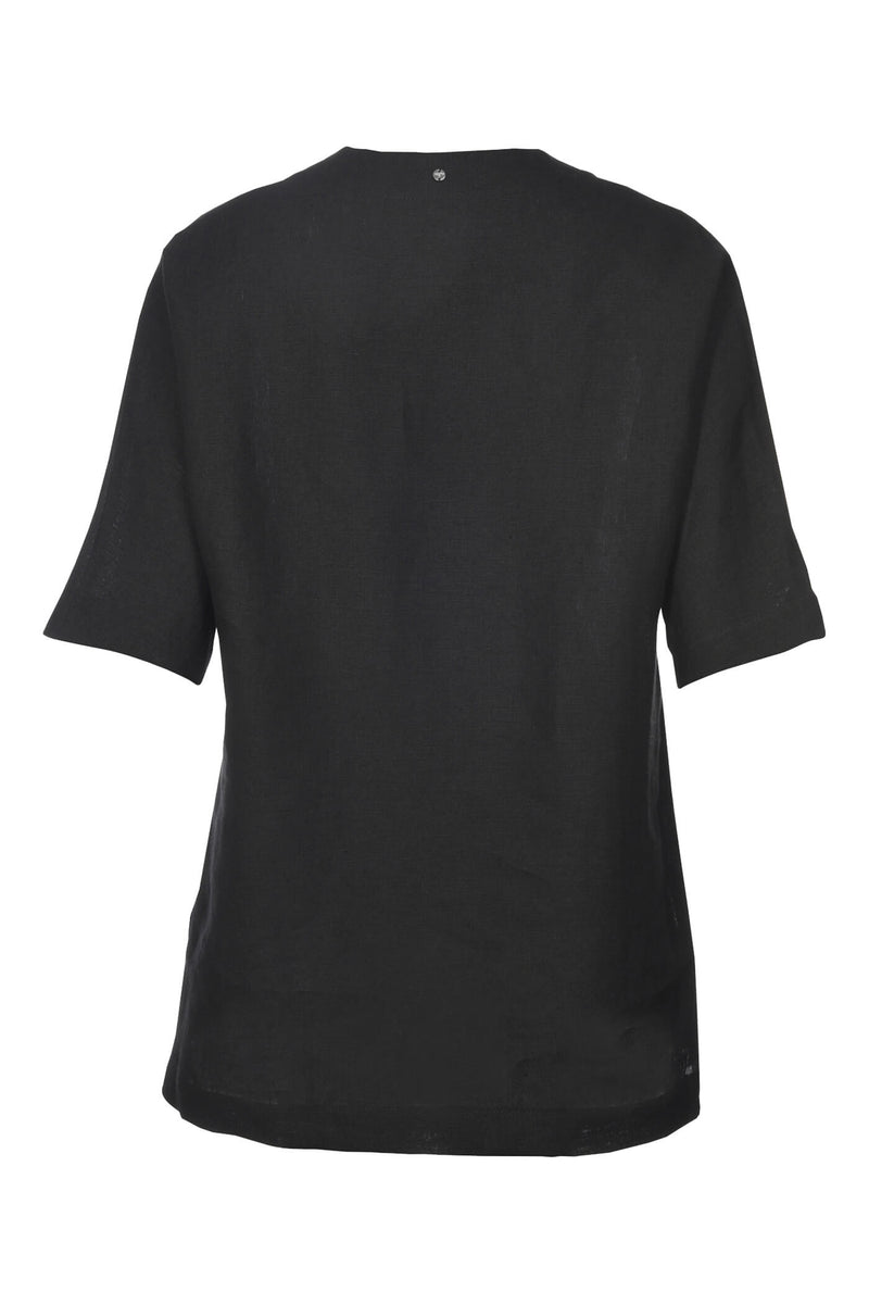 Voglia Finland women's black linen shirt back