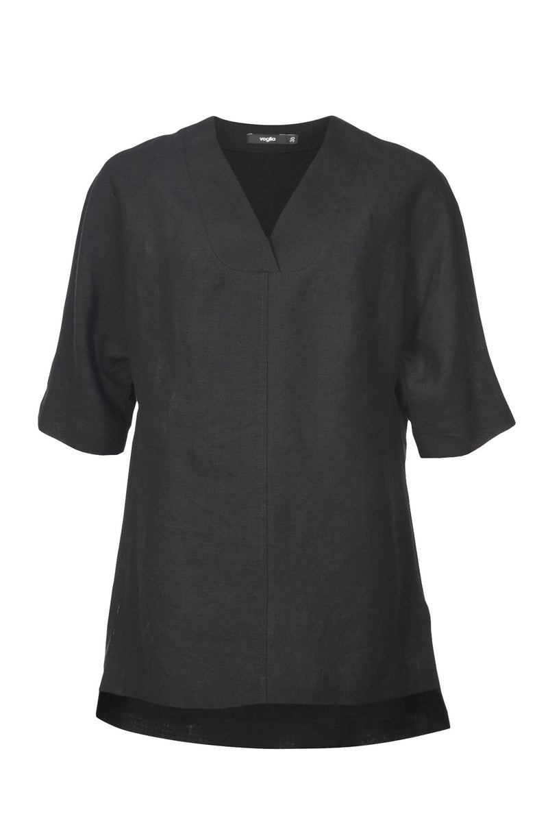 Voglia Finland women's loose fit black linen blouse
