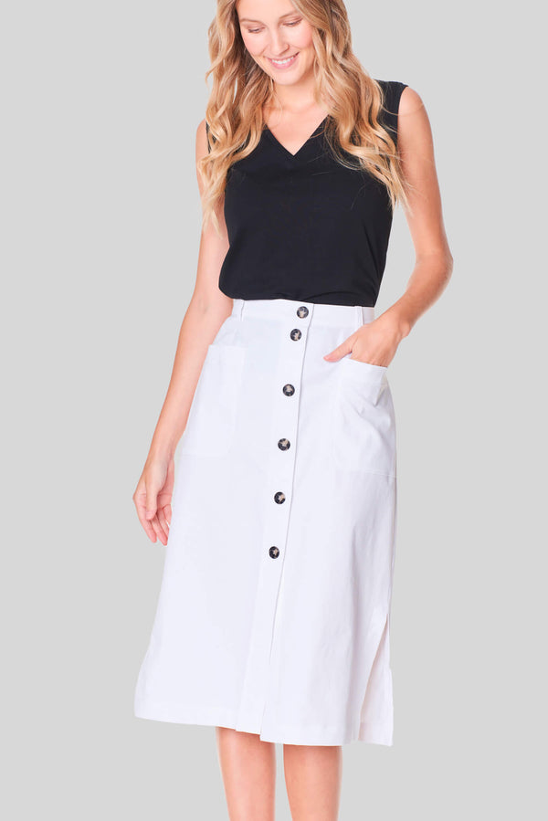 Voglia Finland women's white cotton midi skirt