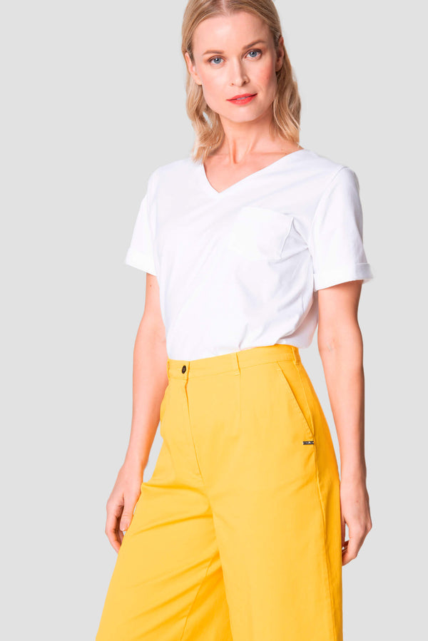 Voglia Finland women's yellow cotton culottes front