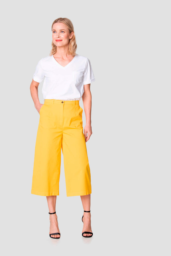 Voglia Finland women's wide leg cotton culottes yellow