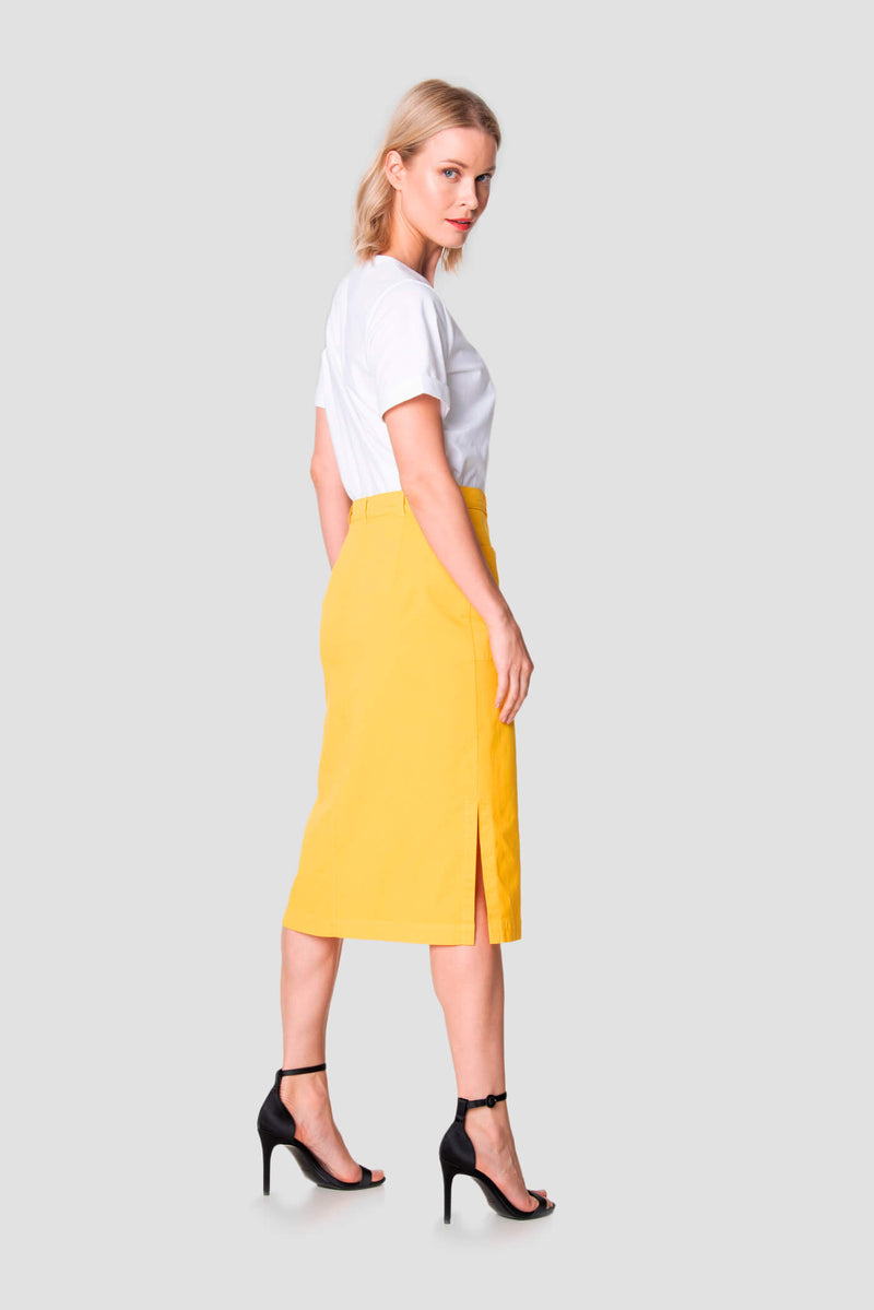 Voglia Finland women's yellow long cotton skirt behind