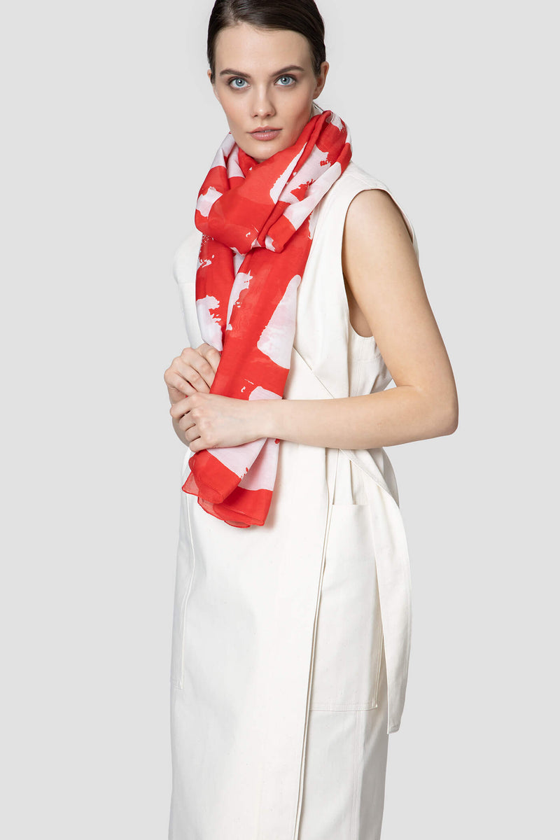 Voglia Finland women's red cotton silk scarf