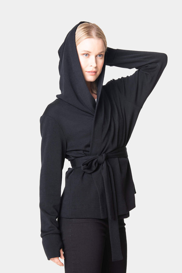 voglia woolen hooded wrap jacket