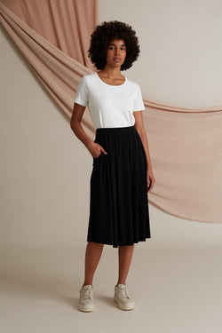 Voglia Poppy wide hem knit skirt black