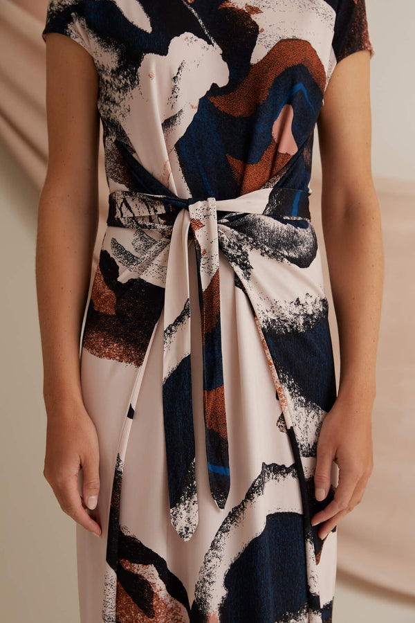 Voglia printed Annie jersey dress blush belt