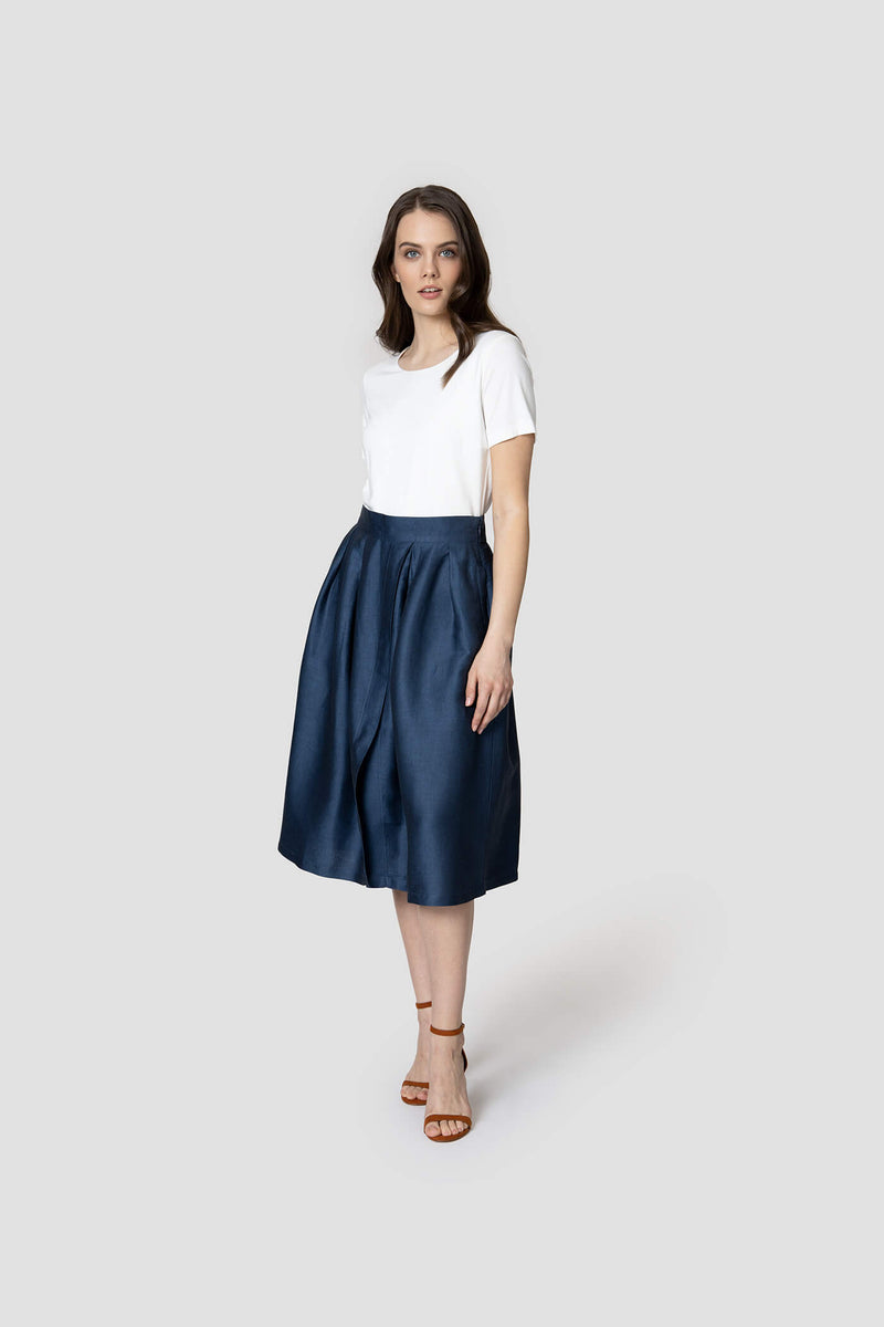 Voglia women's skirt with pockets blue