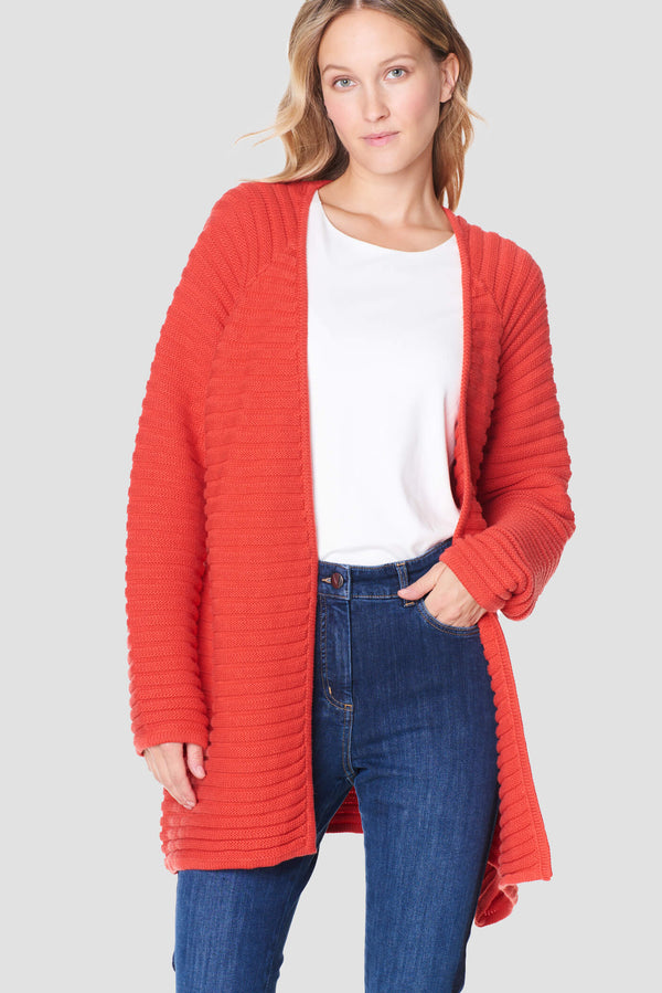 Voglia women's red cotton cardigan