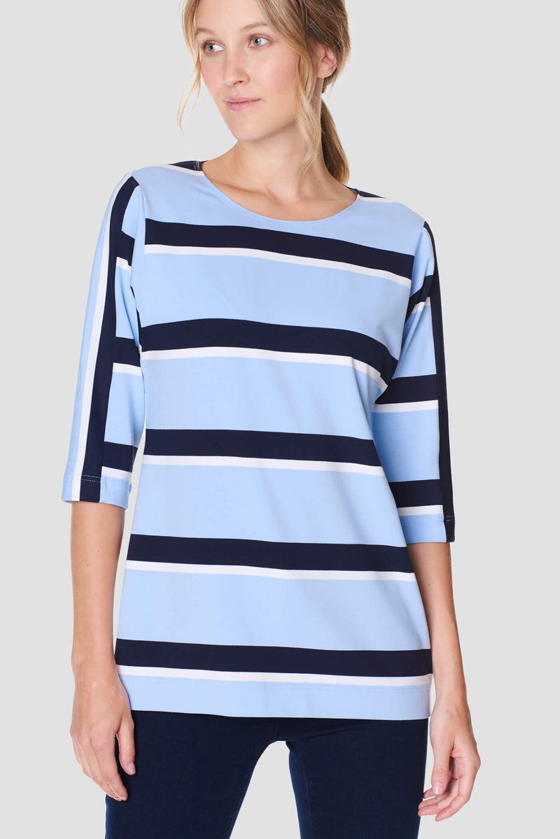 Voglia women's light blue striped tricot shirt