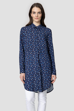 Voglia-women's-long-dotted-shirt-blue