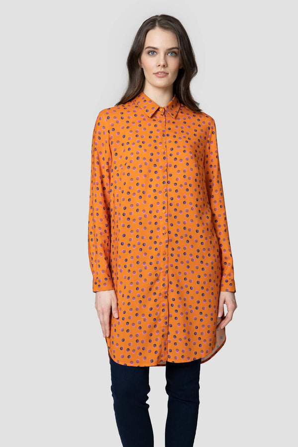 Voglia women's orange dotted long shirt