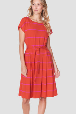Voglia women's red tricot dress stripes