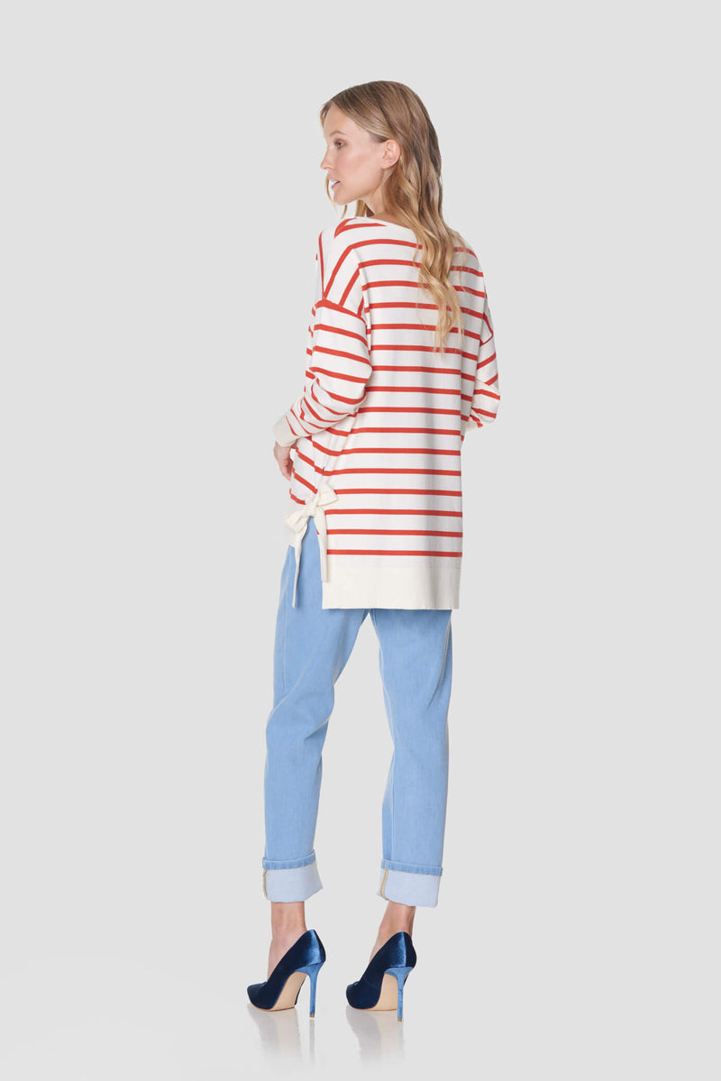 Voglia women's striped red white sweater