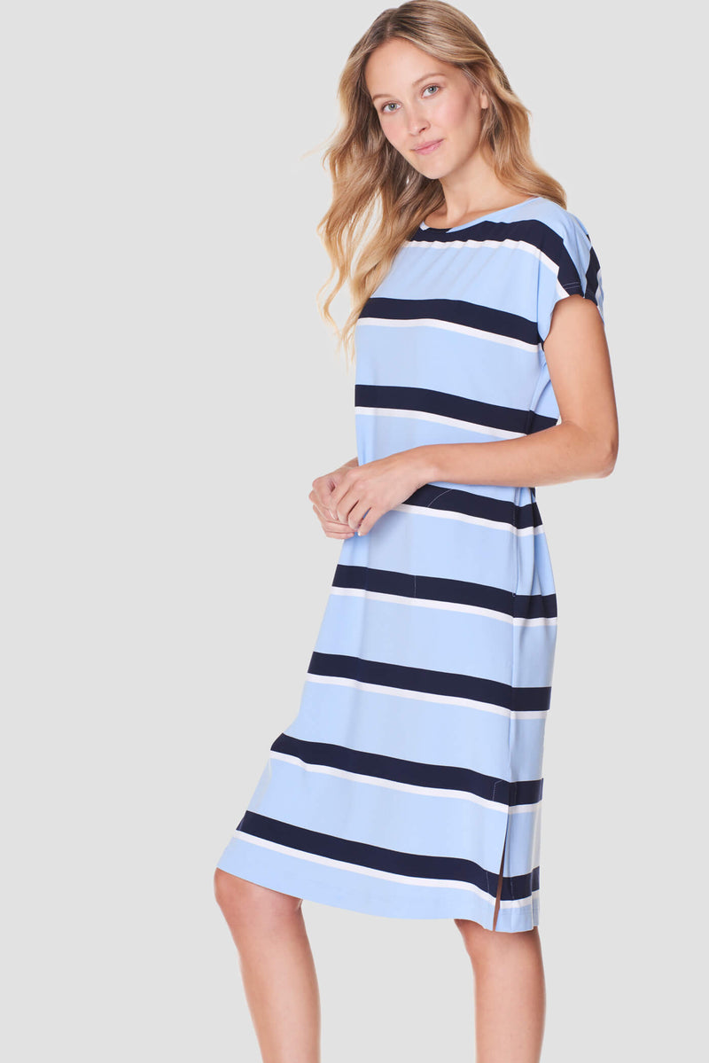 Voglia women's striped tricot dress blue