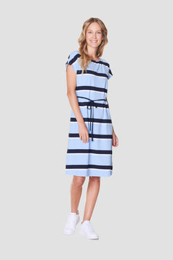 Voglia women's striped dress blue with belt