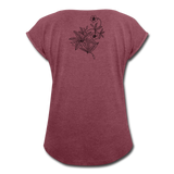 High Times Women's Roll Cuff T-Shirt - heather burgundy