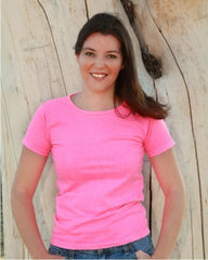 Pink Organic Cotton Ladies Scoop Neck Tee(SPECIAL)