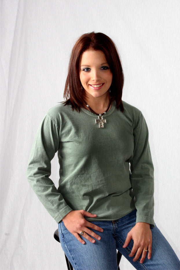Ladies Long Sleeve Organic Cotton Scoop Neck
