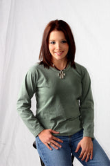132  Ladies Long Sleeve Organic Cotton Scoop Neck