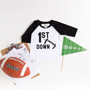 """1st Down"" Football First Birthday Raglan"