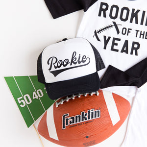 """Rookie of the Year"" Football First Birthday Raglan with Hat"