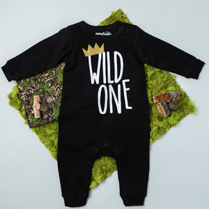 Black Long Sleeve Wild One First Birthday Romper