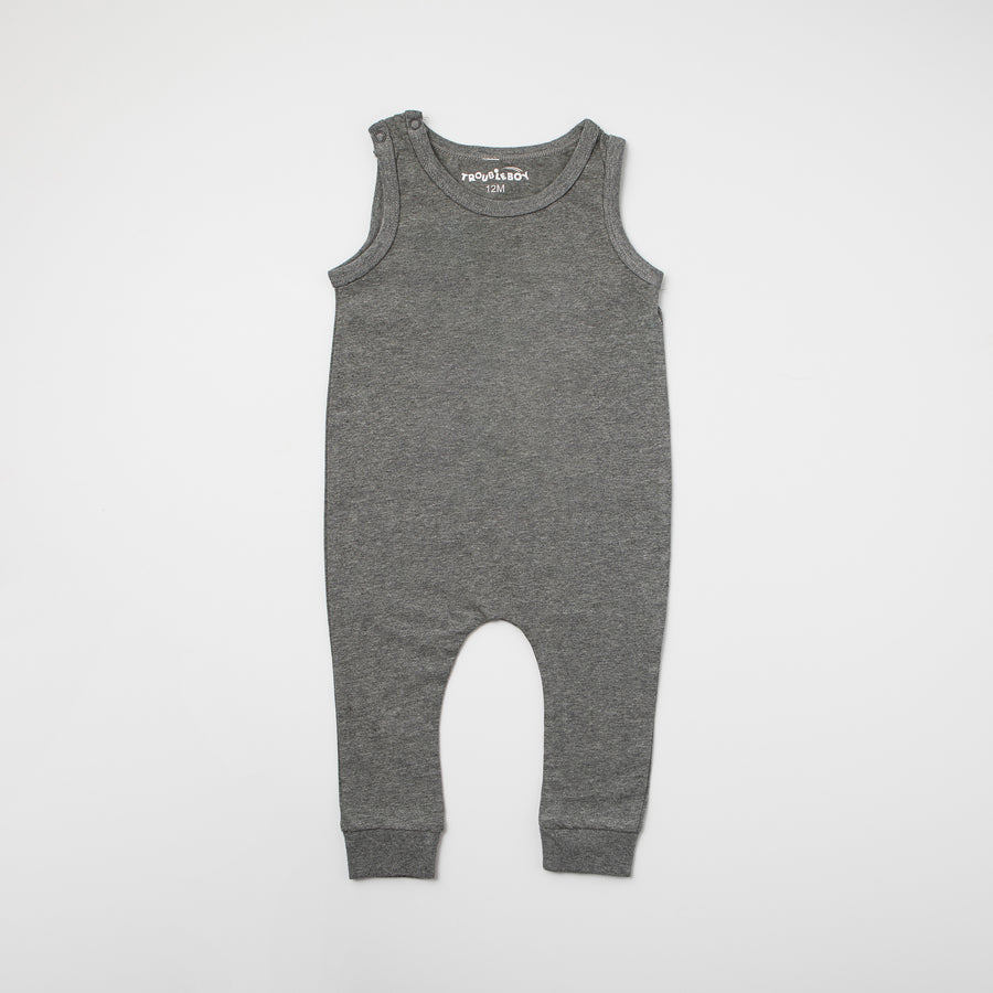 TroubleBoy® Gray Sleeveless Blank Romper