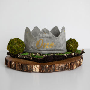 Gray with Gold One First Birthday Crown